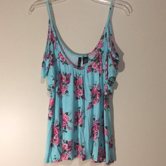 Ultra Flirt Tops - Floral cold shoulder top